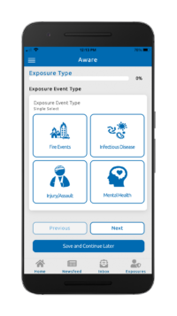 Image shows the Aware™ mobile app.